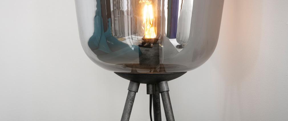 Lampada in metallo finizione argento e globo in vetro SMOKE