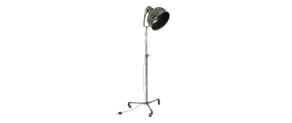 Lampada industriale a rotelle in metallo invecchiato WALKER