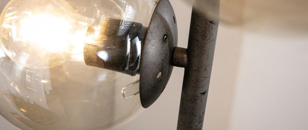 Lampada industriale in vetro e metallo finizione argento anziano GLOB