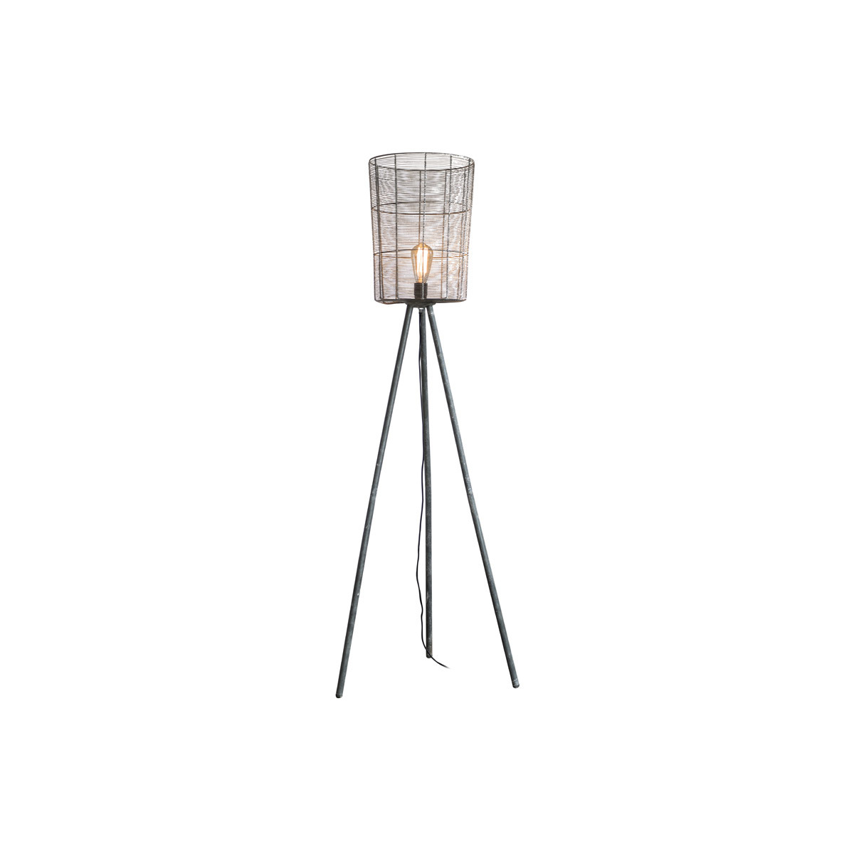 Lampada industriale treppiede legno e metallo grigio KORB