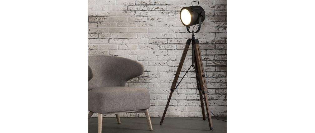 Lampada industriale treppiede legno e metallo nero STUDIO