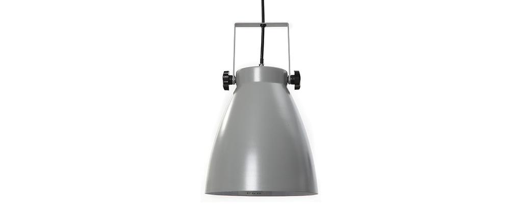 Lampada sospesa industrial grigia LOWIE