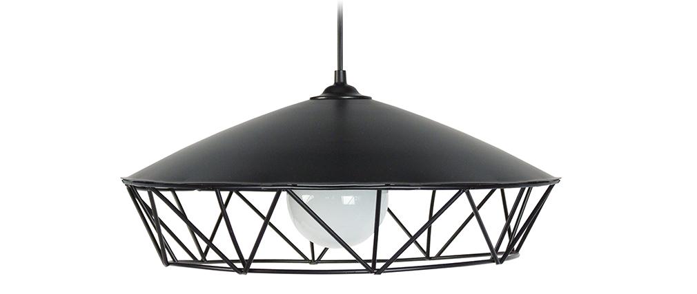 Lampadario con filo design in metallo Nero BRIDGE
