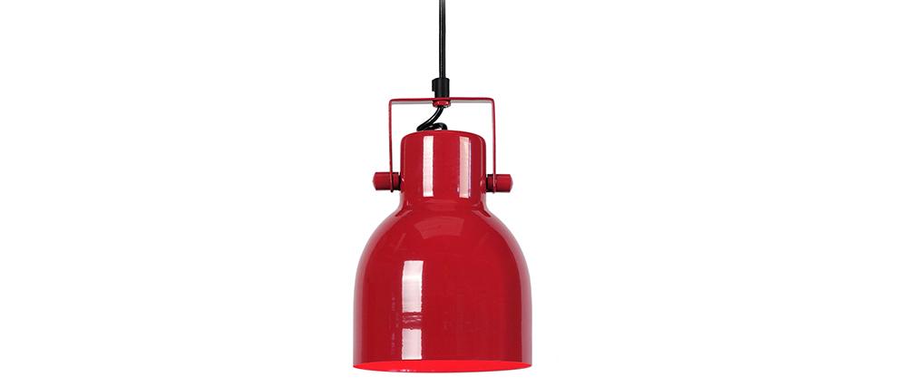 Lampadario design in acciaio Rosso CITY