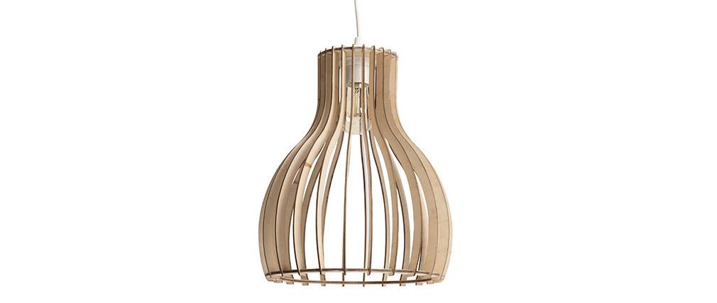 Lampadario design in legno chiaro 28 cm FIJI