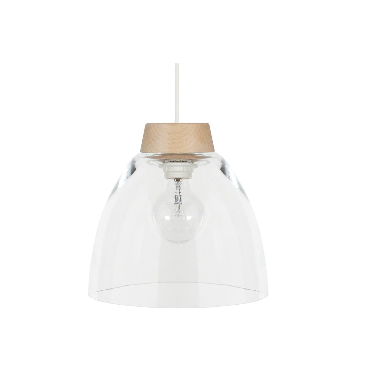 Lampadario design in legno e vetro BORA