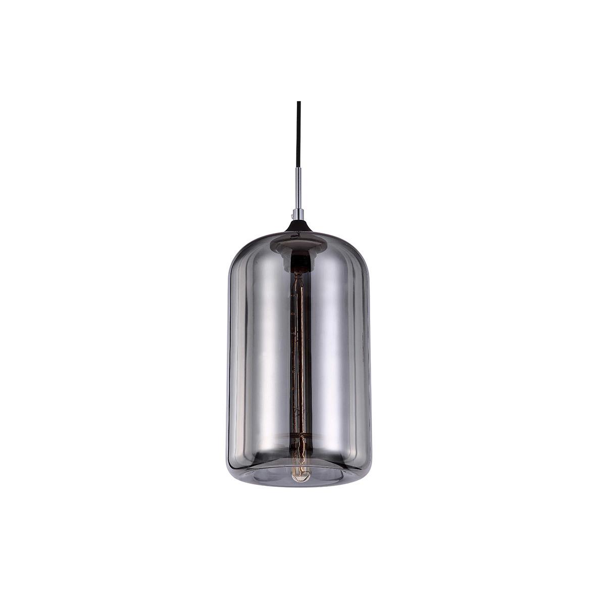 Lampadario design in vetro soffiato trasparente Nero MILAN