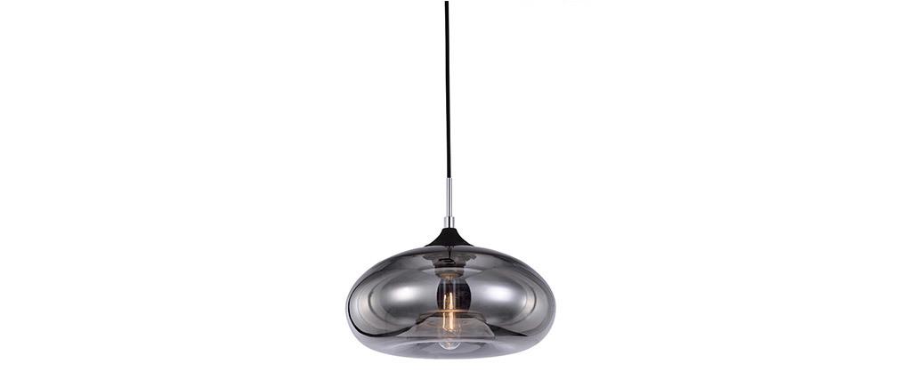 Lampadario design in vetro soffiato trasparente Nero MISTIC