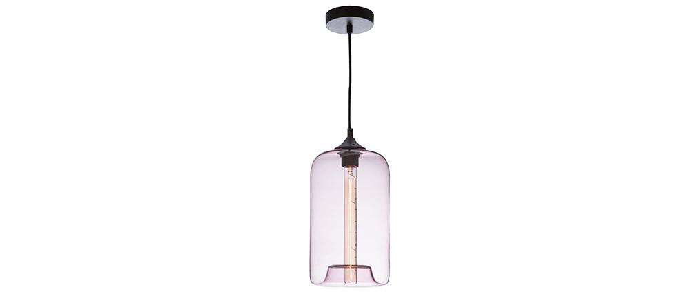 Lampadario design in vetro soffiato trasparente Rosa MILAN