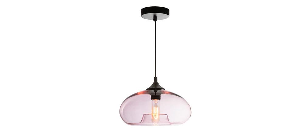 Lampadario design in vetro soffiato trasparente Rosa MISTIC