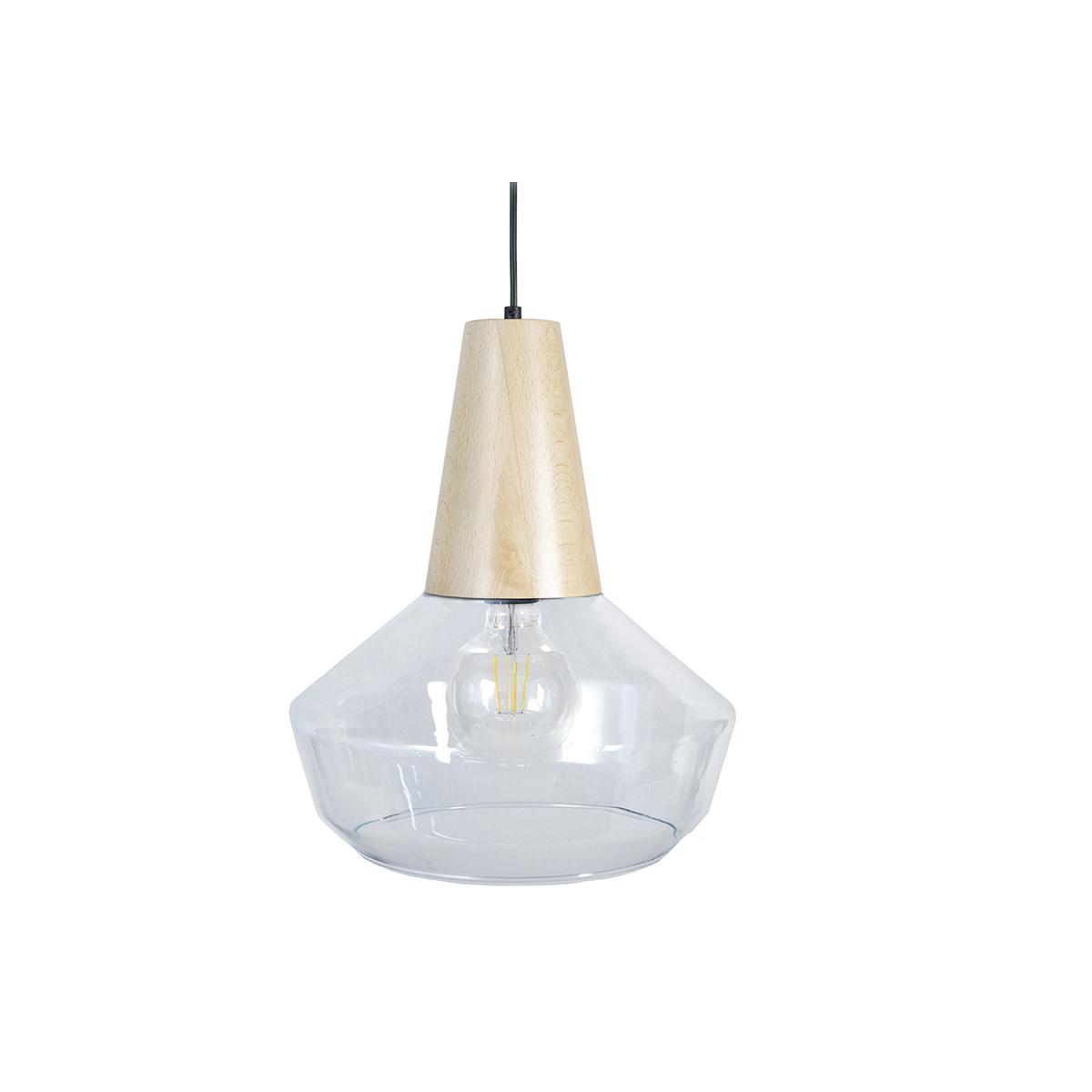 Lampadario design legno e vetro BARTH