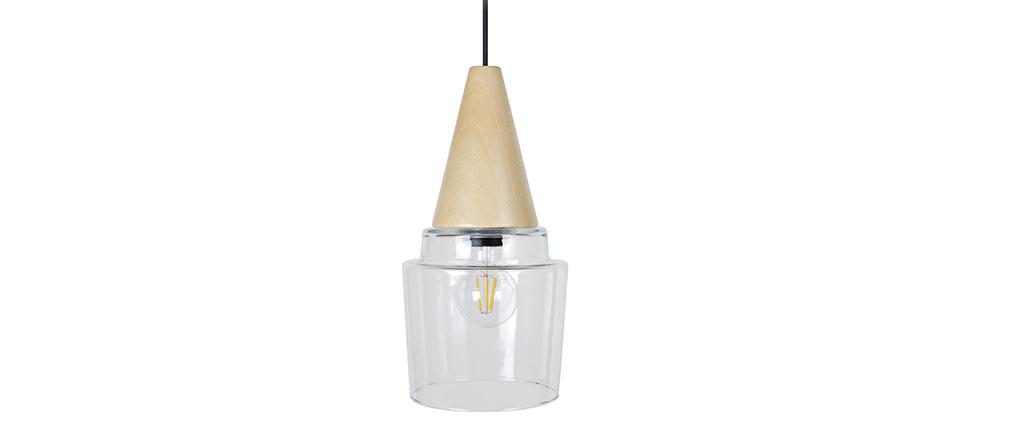 Lampadario design vetro e legno modello ACOMAT