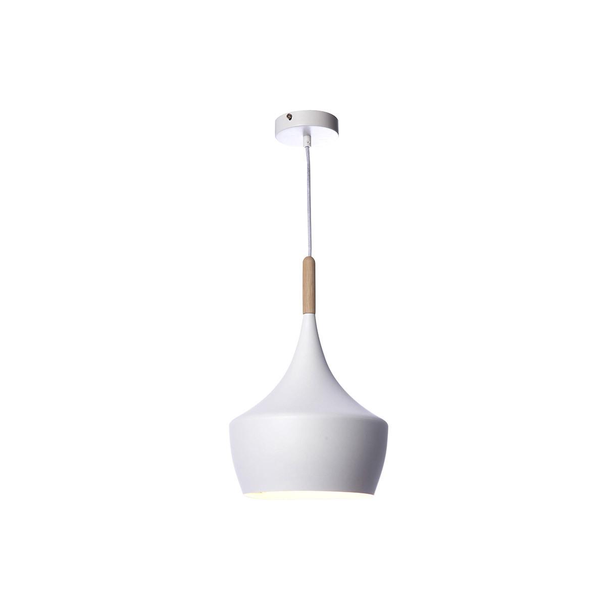 Lampadario in metallo Bianco e legno 24 cm JAVA