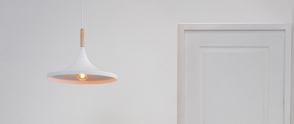 Lampadario in metallo Bianco e legno 36 cm JAVA.