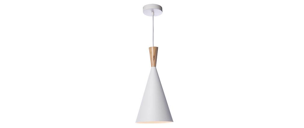 Lampadario in metallo Bianco e legno diametro 19 cm JAVA