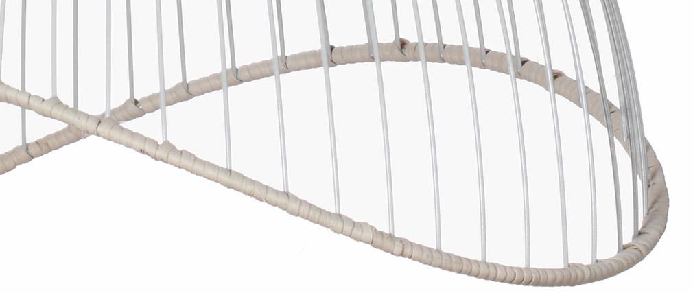 Lampadario in metallo bianco e rattan STEAM
