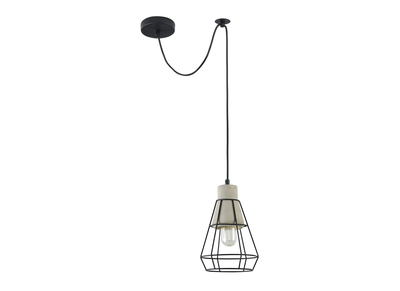 Lampadario in metallo, colore: Nero e cemento, modello: UMBRA