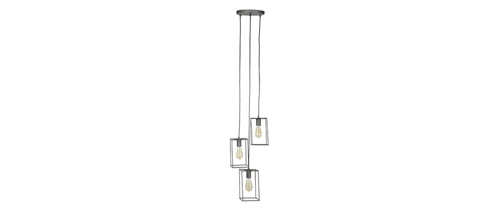 Lampadario industriale 3 lampadine argento antico QUATRO