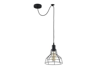 Lampadario industriale, in metallo, colore: Nero, modello: TELA