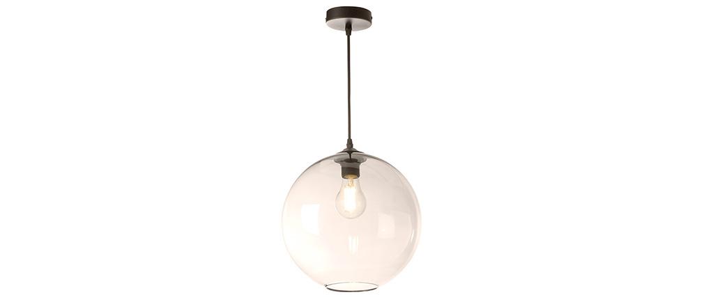 Lampadario sferico in vetro ambrato D30 cm DUNA