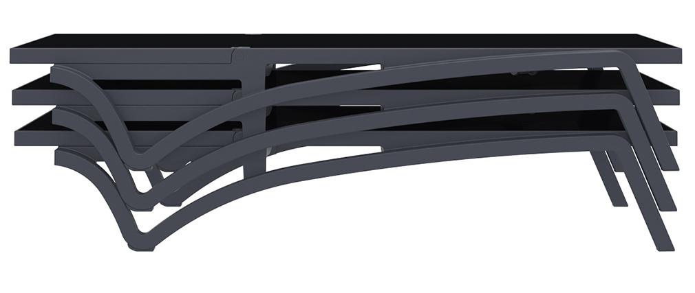 Lettino regolabile nero con rotelle CORAIL