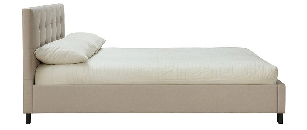 Letto 160 x 200 imbottito lino beige MARQUISE