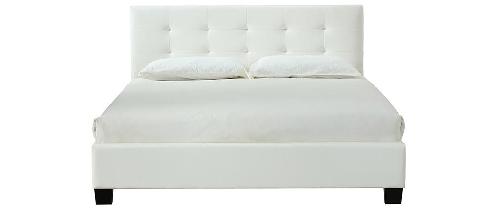 Letto 160 x 200 imbottito PU bianco MARQUISE