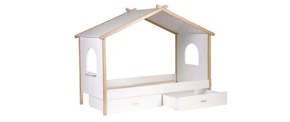 Letto a capanna per bambino con cassetti design birdy   miliboo