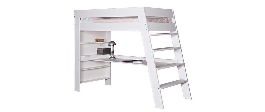 Letto a soppalco da bambino con scrivania legno bianco erwan   miliboo