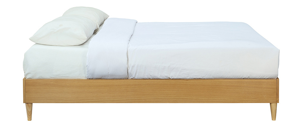 Letto adulto  160 x 200 cm con rete finitura in legno chiaro AYO