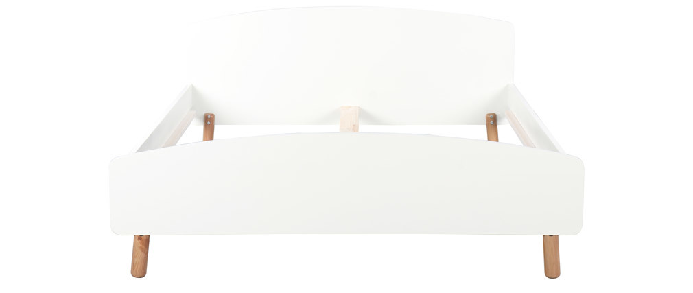 Letto adulto scandinavo 160 x 200 cm legno e bianco NEA
