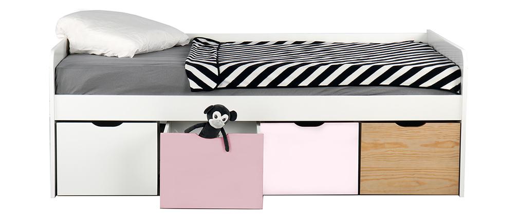 Letto bambino con 4 cassetti legno, bianco e rosa MOLENE