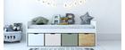 Letto bambino con 4 cassetti legno, bianco e verde  MOLENE
