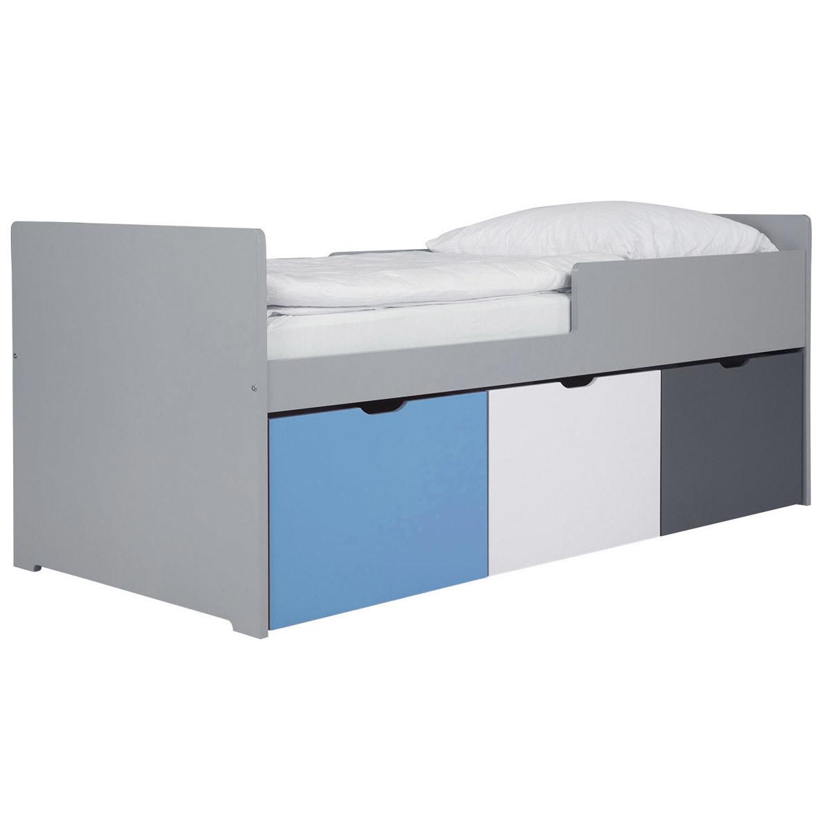 Letto bambino con cassetti 90x190 cm blu bianco et grigio JULES
