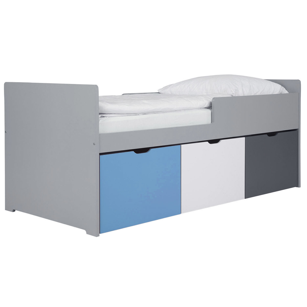 Letto bambino con cassetti 90x200 cm blu bianco et grigio JULES