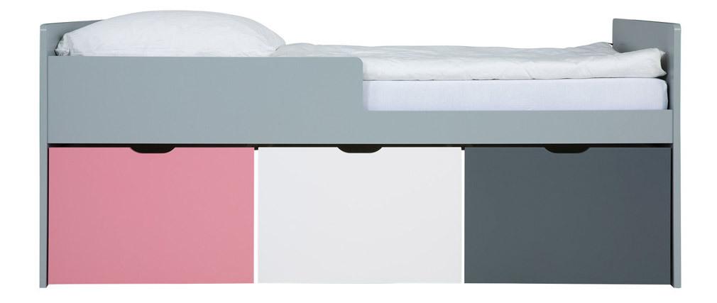 Letto bambino con cassetti 90x200 cm rosa bianco et grigio JULES