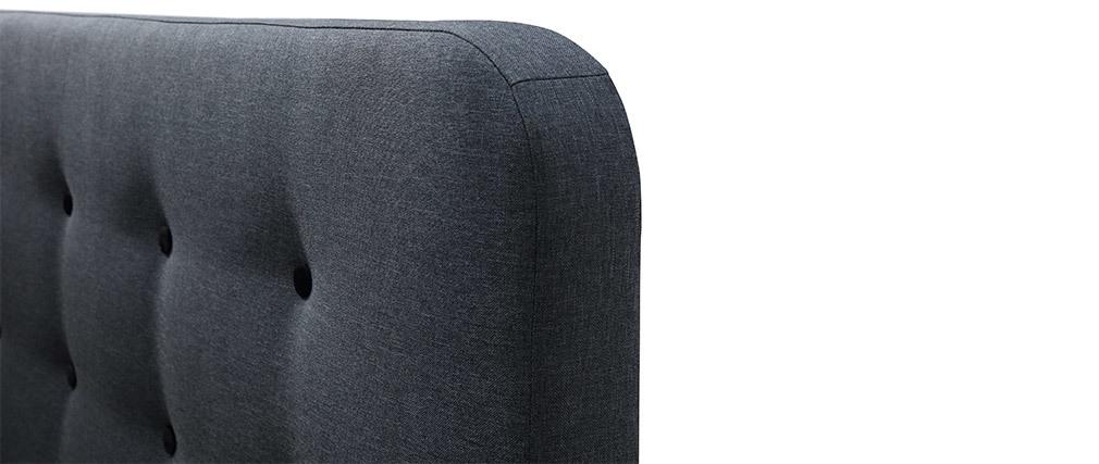 Letto capitonato tessuto grigio scuro 140 x 200cm HOLSEN