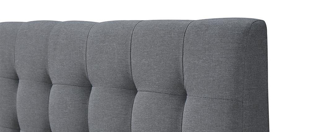 Letto con design capitonné in tessuto Grigio e legno 140x200 SOREN