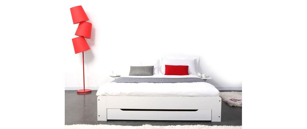 Letto design bianco 2 posti 140x190 loris   miliboo