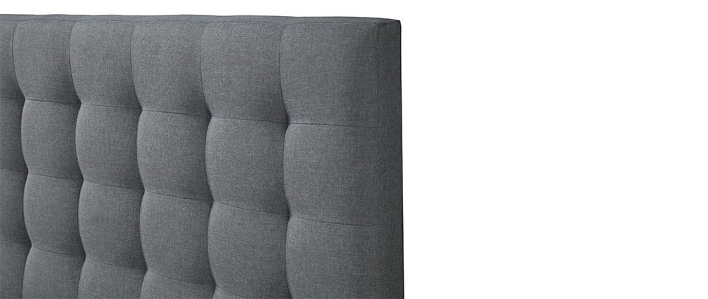 Letto design capitonné in tessuto Grigio chiaro 160x200 DANAE