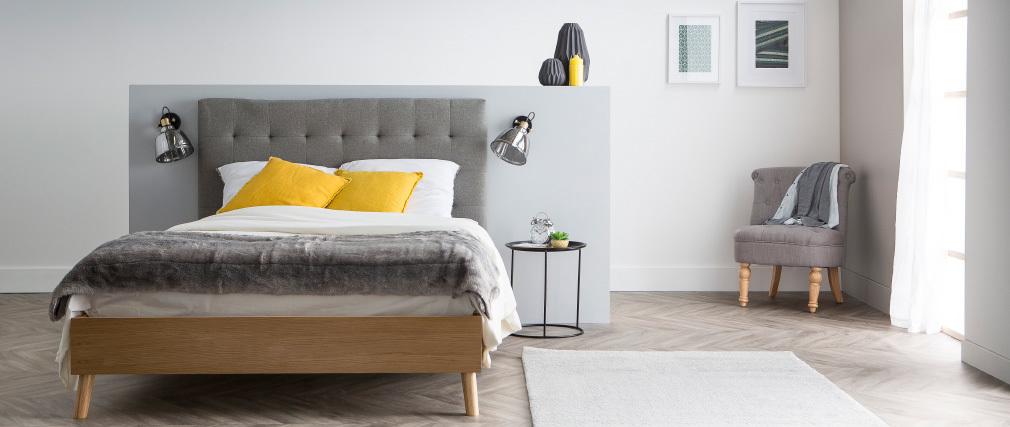 Letto matrimoniale scandinavo legno e tessuto beige 140 x 200cm LYNN
