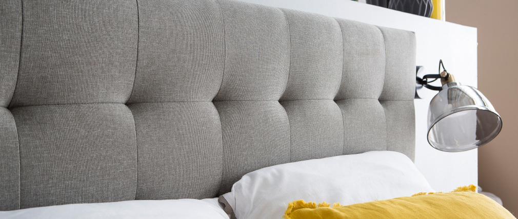 Letto matrimoniale scandinavo legno e tessuto grigio 160 x 200cm LYNN