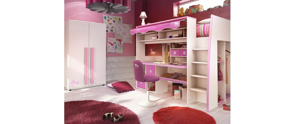 Letto mezzanina per bambina rosa e bianco marchande   miliboo