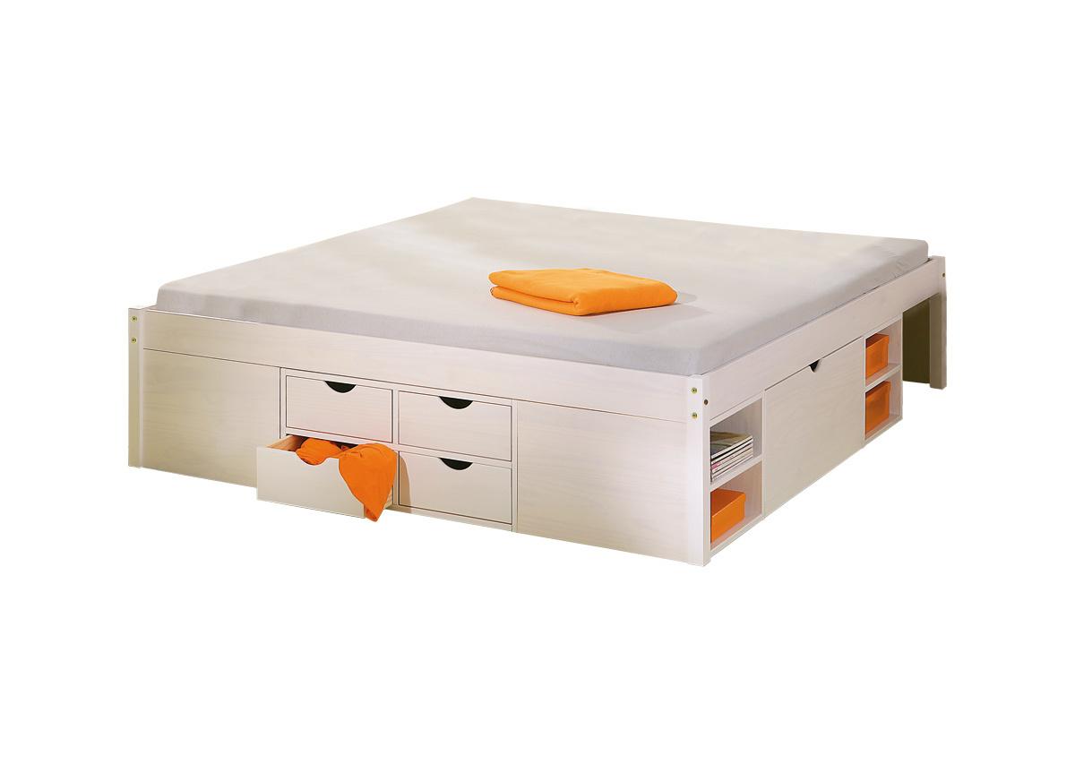 Letto multi-contenitore 140x190 bianco TIEGO