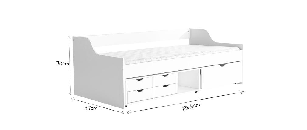 Letto per bambini a cassetti 90x190 in pino bianco CLEO