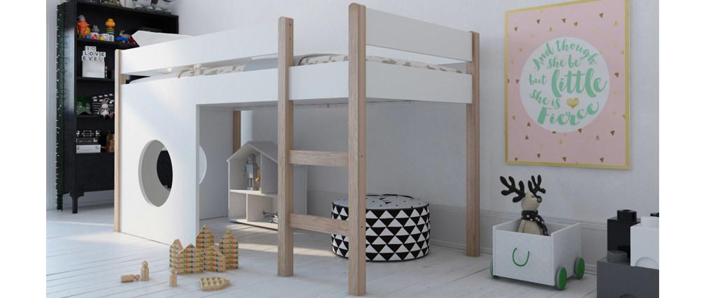 Letto soppalco con pannelli sfoderabili bianco e legno chiaro ALTO