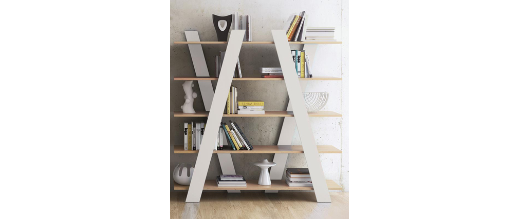 Libreria design bianco opaco e legno weimar   miliboo