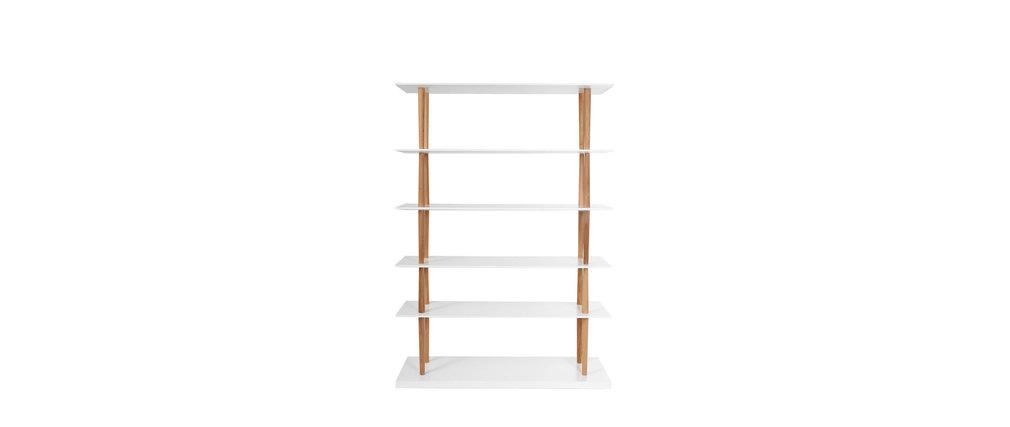 Libreria design in legno naturale e bianco 5 mensole gilda   miliboo