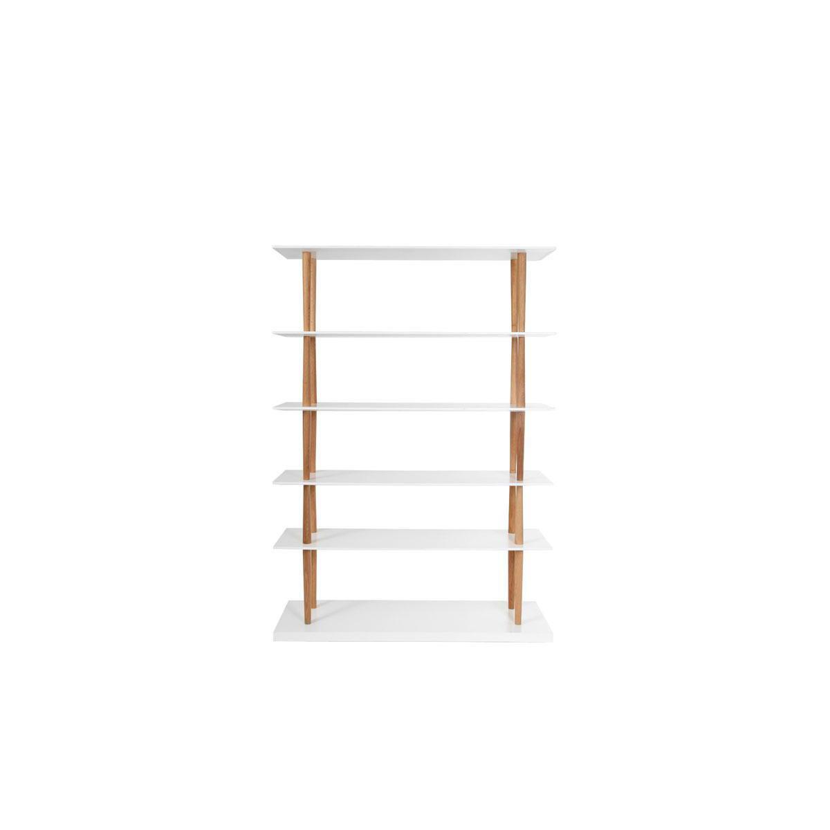 Libreria design in legno naturale e bianco 5 mensole GILDA