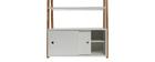 Libreria design laccata colore bianco opaco e legno STOKA